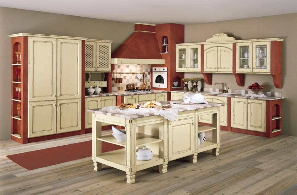 Cucina in muratura bianco antico decapè