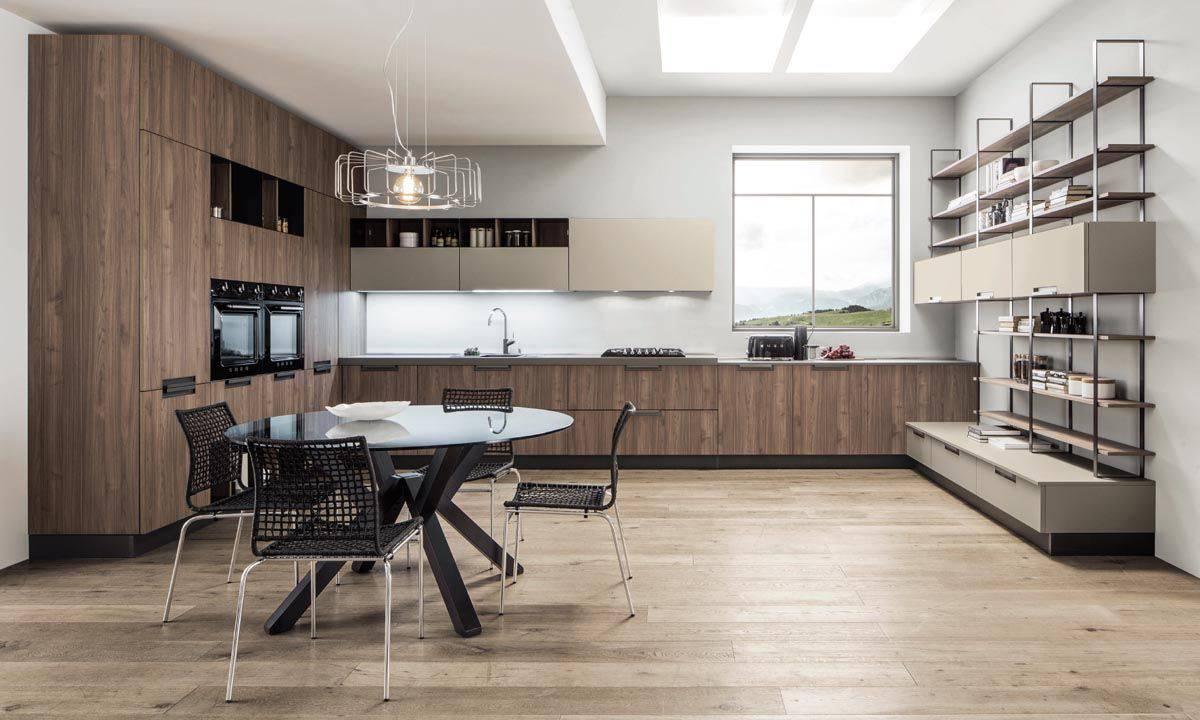 Cucina moderna con maniglie incavate