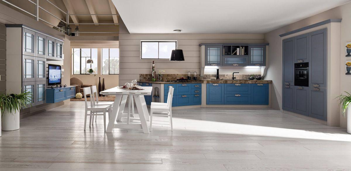 FOTO PRINCIPALE - Cucina in muratura blu