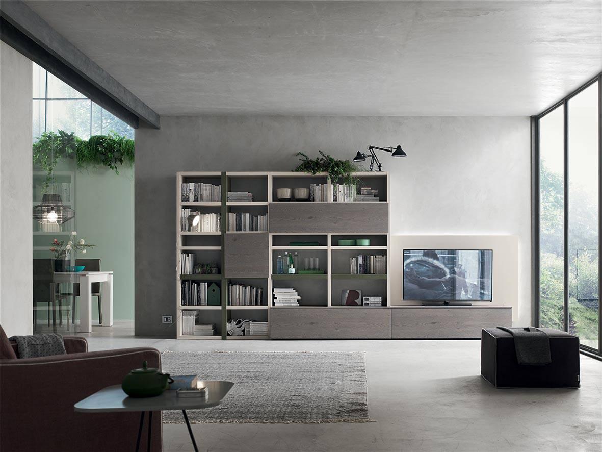 Soggiorno libreria e pannello tv