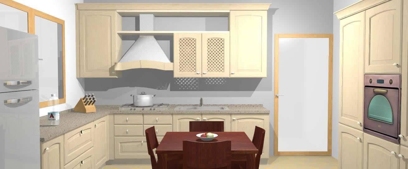 rendering cucina classica bianco antico