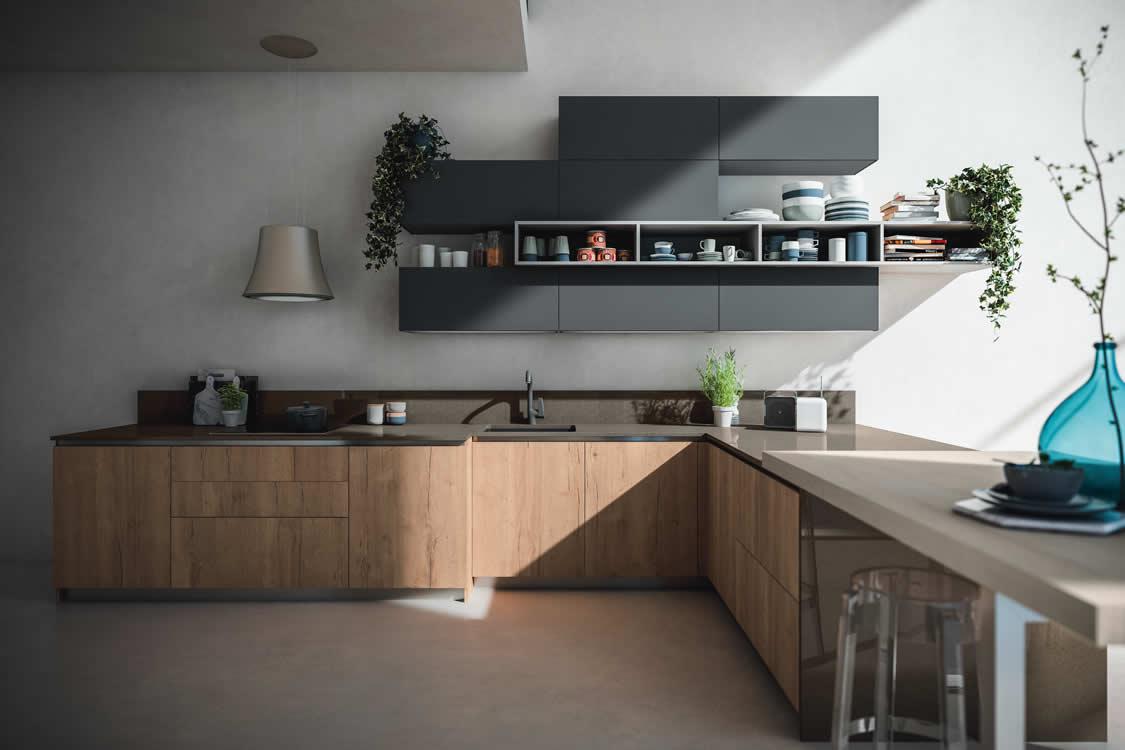 Cucina in materico effetto rovere invecchiato con gola - Cucina moderna